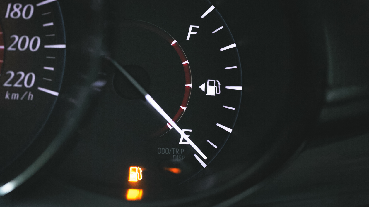 the low fuel light on